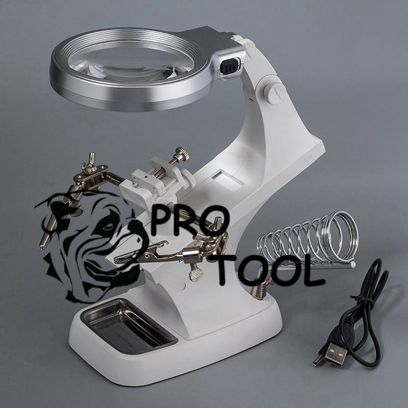 Schweißen lupe LED lupe Lupe Alligator Clip Halter Clamp Helfende Hand lötkolben Repair tool