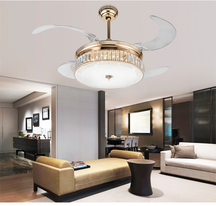 Dimming Stealth Ceiling Fan Lights Crystal Folding Retractable Modern Luxury LED Light With