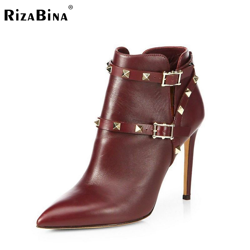 RizaBina women real leather high heels ankle boots sexy half short botas autumn winter boot heels footwear shoes R7438 size33-40 цена