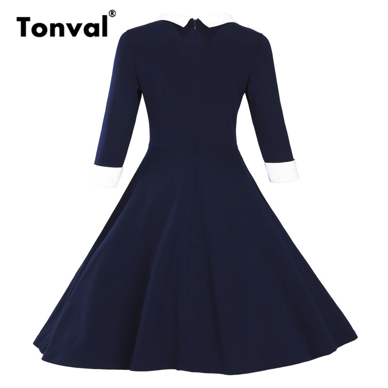 e880f8c215e Tonval Vintage Peter pan Collar Dress Women Autumn Burgundy Plus Size  Dresses Rockabilly 3XL Winter Dress