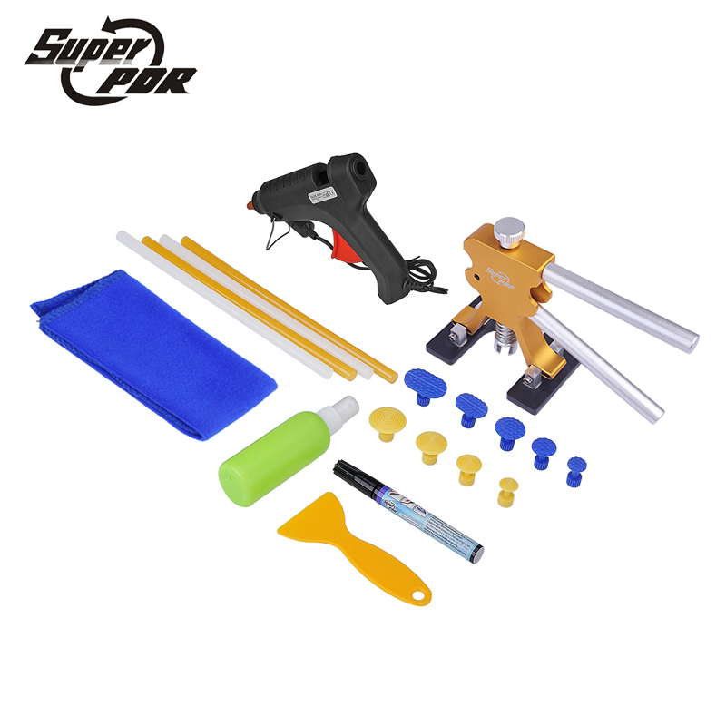 Super PDR Tools Paintless Dent Removal Tool Kit Dent Puller Tabs glue gun Hand Tool Set Paintless Car body dent repair  super pdr car dent repair tools pulling bridge glue puller glue gun dent tabs hand tool set 39pcs dent removal tools kit