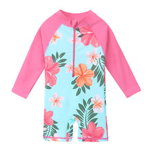 BAOHULU UPF50+ Print Baby Girl Swimsuit Long Sleeve Kids Swimwear One Piece Toddler Infant Bathing Suit for Girls Boys Children(China)