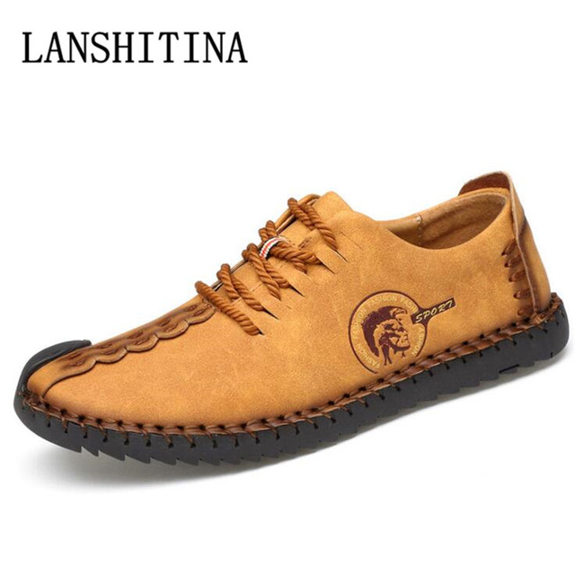 39ab83c7c7cda LANSHITINA Brand Handmade Casual Shoes Men Loafers Lace-up Leather  Moccasins Men Driving Shoes High Quality Flats For Man