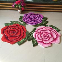 Hot sales high quality beautiful /fashion romantic rose art carpet /floor mats/art rug for bedroom 80*60cm