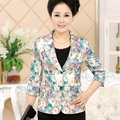 2015 Spring Autumn Best Selling Tops Middle-Aged Women Print Slim Short Jacket Feminino Coat Lapel Plus Size Blazer Suit LW171