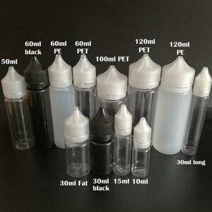 Image 2 - 100 adet boş yağ E sıvı şişe 10ml 15ml 30ml 50ml 60ml 100ml 120ml kalem şekli plastik damlalık şişe E suyu için tırnak jeli