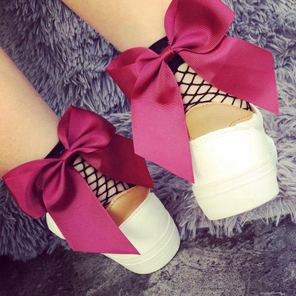 Cute Ankle Fashion Mesh Lace Fishnet Bowknot Short Socks