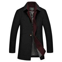 Uwback Winter Coats Men 2017 Fashion Turn-down Collar Fitness Long Coat Autumn Windproof Woolen Trench Coats Business Navy XA097