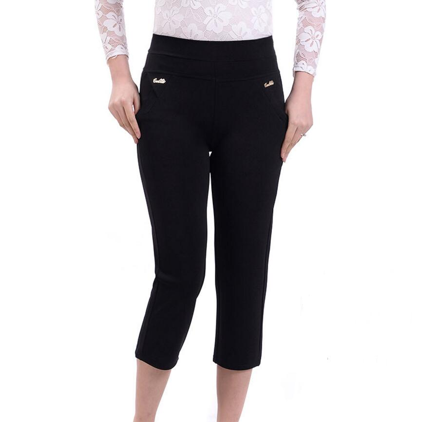 2019 Summer Women Casual Pants Capris Female High Waist Straight Pants Plus Size Pants Women LY152