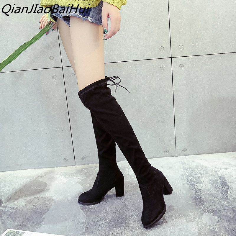 QianJiaoBaiHui women stretch fabric slim over the knee high boots lace-up thick heel Thigh boots woman autumn spring long boots