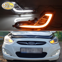For Hyundai Accent I25 Solaris 2010 - 2013 SNCN LED Daytime Running Light  Yellow Turn Signal Relay Waterproof DRL Fog Lamp