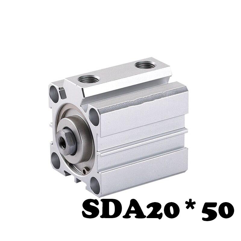Frete grátis SDA20 * 50 cilindro Padrão cilindro SDA fina Tipo 20mm Furo 50mm Curso Compacto Fina Pneumático cilindro de ar
