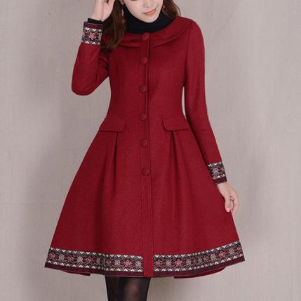 Fashion Women Winter Coat Single Breasted Elegant Vintage women Overcoat Long Sleeve Slim Wool Jackets