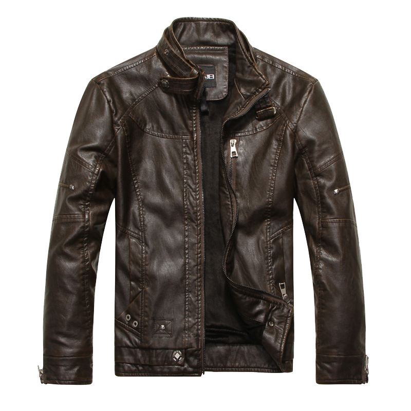 Jackets For Men PU Brown Black Fall Winter Spring long Motorcycle Shell leather sleeve denim Mens Jackets Outerwear
