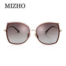 MIZHO marka bakır Metal kare kadınlar için polarize güneş gözlüğü degrade lüks moda gözlük TR90 Sunglass kadın büyük boy