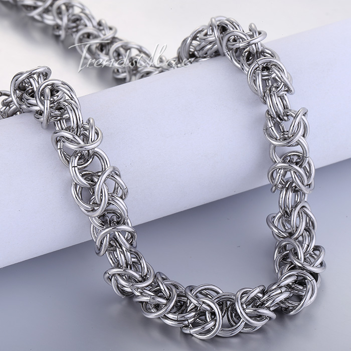 Men's Stainless Steel Byzantine Link Silver Chain