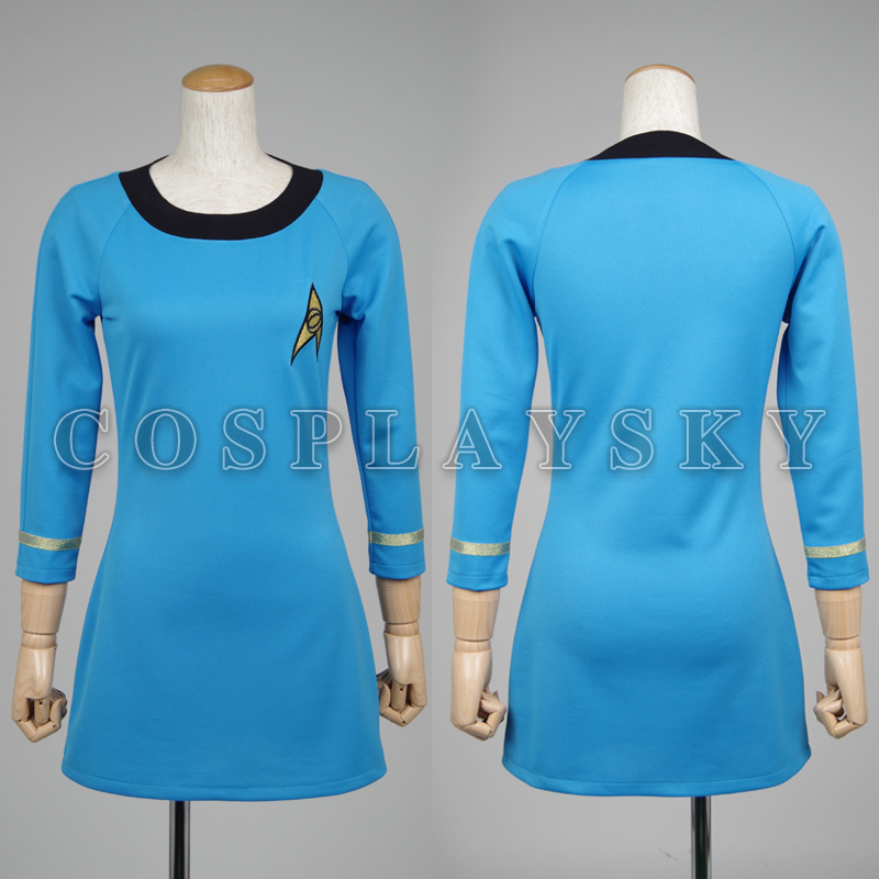Star Trek Costume TOS Blue Dress Cosplay Female Duty Uniform Girl Dresses Suit Spring Summer