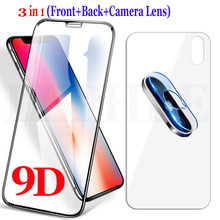 9D Full Front Glass on the for iPhone XS Max XR X 8 7 6 S 6S Plus Screen Protector Tempered Glass +Back Film + Camera Lens Glass(China)