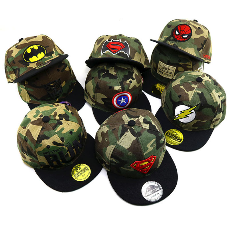 2019 Hot Spiderman superman Child embroidery   Baseball     Cap   kids Boy Girl Hip Hop Army Camouflage hat/Sun   Cap  /Mesh   cap  /Snapbac hat