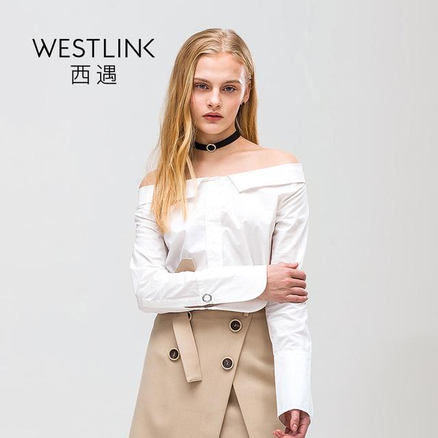 Spring New Cotton Slash Neck Off-Shoulder Long Sleeve Button Shirts Women Top White