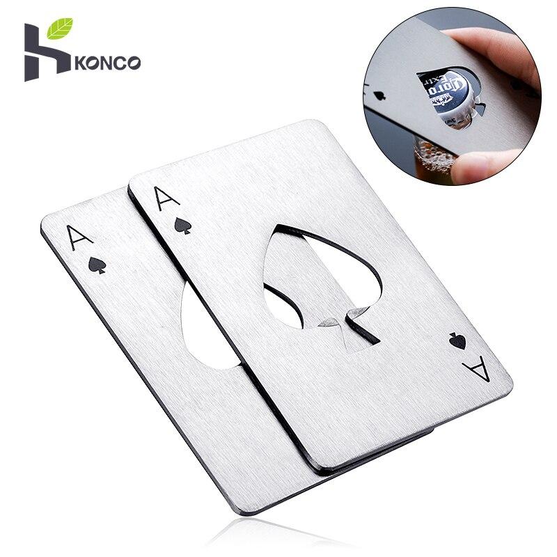 KONCO Stainless Steel Poker Beer Bottle Opener, Portable Spades Poker Card Jar Opener For Bar Tools, Kitchen Tools