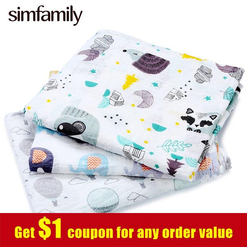 [simfamily]1pc Muslin 100% Cotton Newborn Swaddles Soft Baby Deken Gauze Infant Blankets Wrap Sleepsack Swaddleme Manta Cobertor