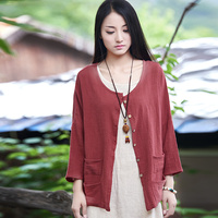 2015 Summer Style Army Green Women Blouses Loose Plus Size Linen Shirt Brand Casual Blusas Button