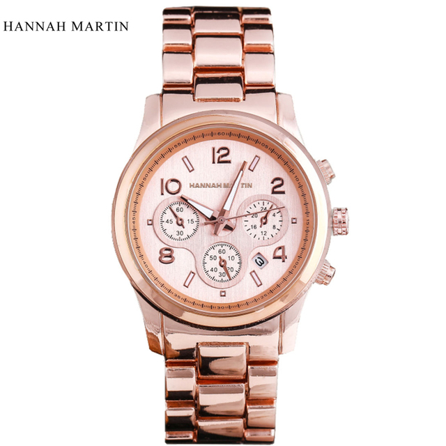Caliente de Lujo de la Marca HM Oro Rosa Mujer Reloj Mujer Ladies Relojes  de Cuarzo a0e51249522c