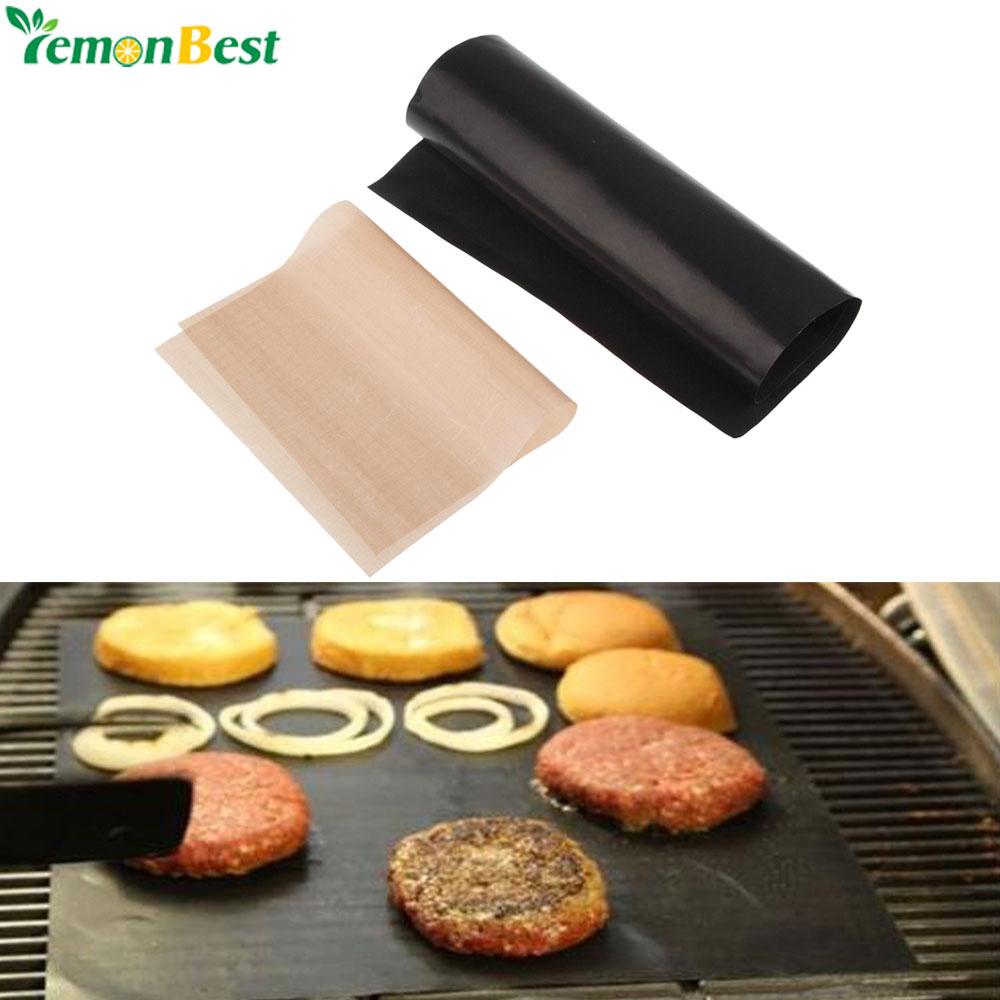 2pcs Set Non Stick Bbq Grill Mat Pad Sheet Hot Plate