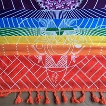 Betere Kwaliteit Gemaakt Van Katoen Bohemen India Mandala Deken 7 Chakra Regenboog Strepen Tapestry Strand Gooi Handdoek Yoga Mat