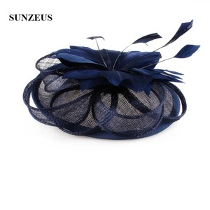 Image 5 - White Wedding Hat for Bridal Feathers Linen Flowers Elegant Womens Party Hats Navy Blue tocados sombreros bodas  SH64