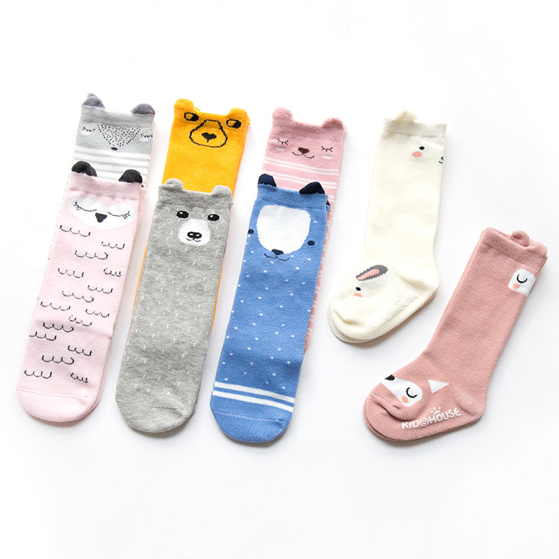 Cartoon Animal Baby Knee Socks Anti Slip Cotton Girls Baby Sock With Rubber Sole Toddler Knee Long Fox Socks For Baby 0-4 Years
