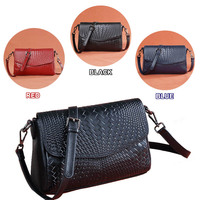 Leather women bag Long strap Shoulder bag Genuine leather Black / Red / Dark Blue