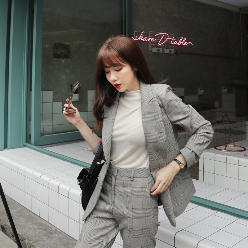 New Fashion 2 Piece set women's OL business office work wearing pant suits Pink Striped Top+pants women's suits