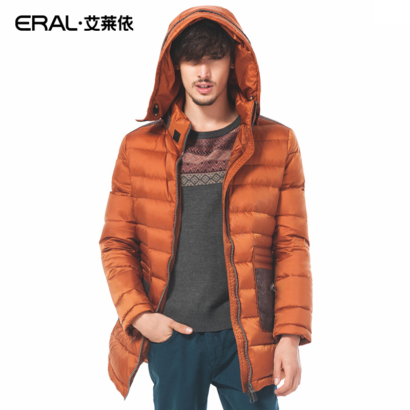 ERAL 2016 New Arrival Winter Coat Mens Casual Herringbone Patchwork Down Jacket with Depatchable Hood Outerwear ERAL9031C