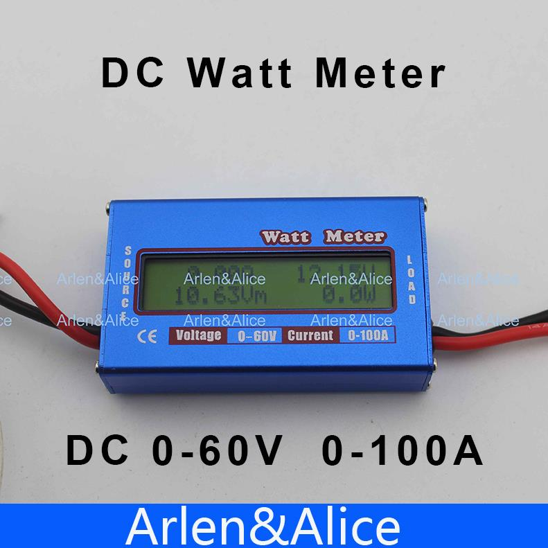 DC Watt meter with LCD display for DC 0-60V 0-100A balance voltage current RC battery power Analyzer new digital balance voltage power watt meter analyzer tester checker for rc helicopter battery charger 60v 100a wattmeter