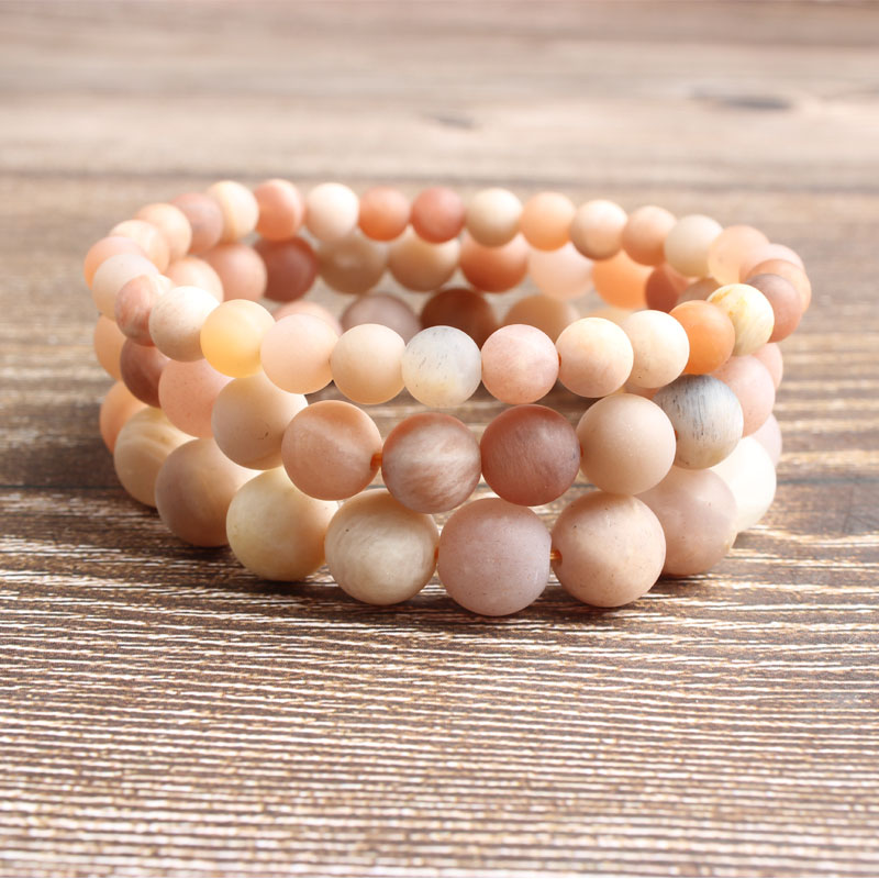 LanLi 4 6 8 10 12mm natural jewelry dull polish sunstone stones Bracelet Charms Yoga Women meditation amulet in Beads from Jewelry Accessories