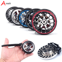 High Quality Hellaflush Aluminum Alloy Wheel Brake Disc Turbo Key Chain Leather Car Tire Key Ring