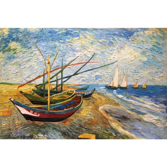 Old Fishing Boats On Beach: Classic Oil Painting On Canvas Fishing Boats On The Beach