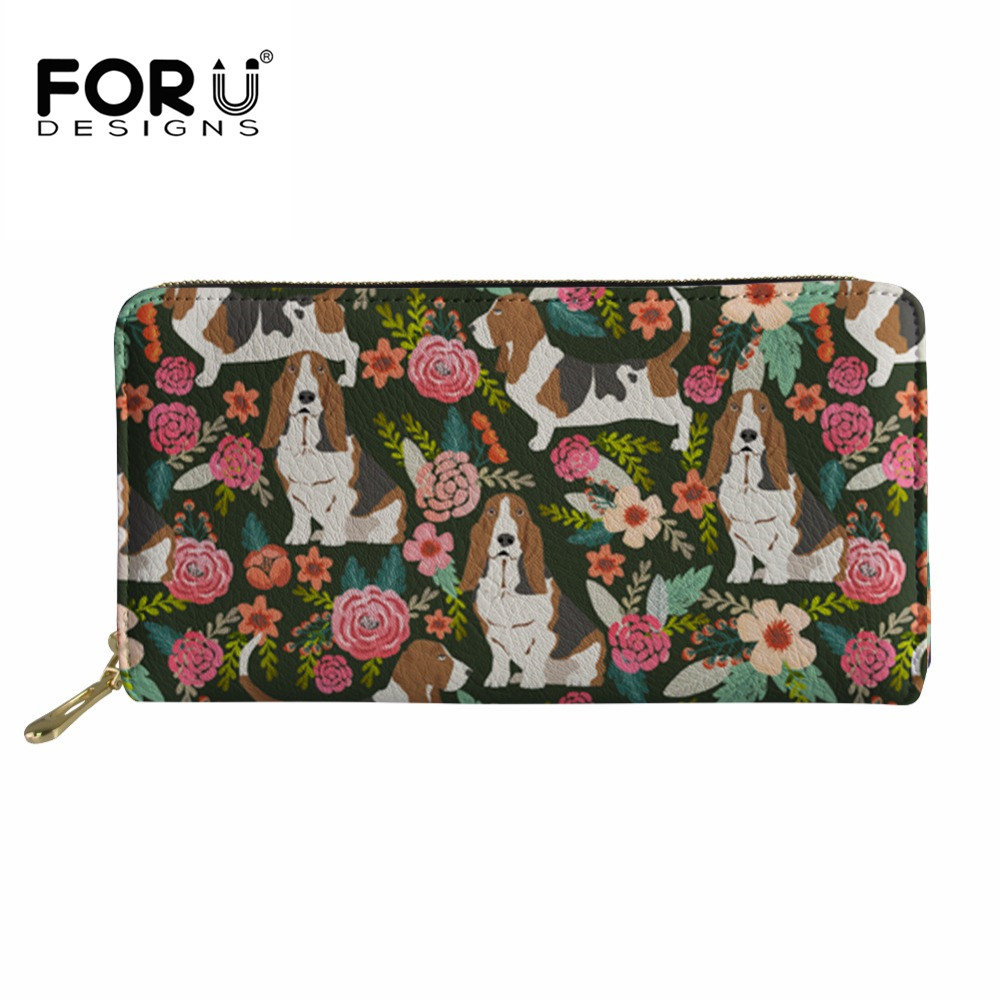 Buy FORUDESIGNS Wallet Women Basset Hound Prints Long Purse Ladies Kawaii Flower pu Leather Coin Pocket for Females Money Bag Clutch for $13.42 in AliExpress store