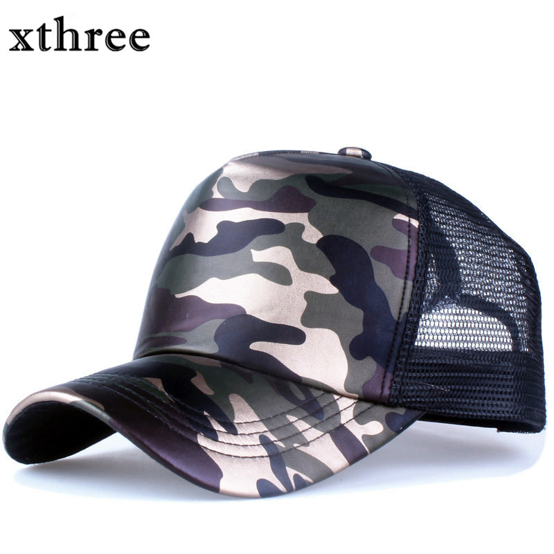 Xthree 5 panels summer baseball cap faux leather Camouflage hat snapback hip hop casquette bone men hats for women new brand baseball cap pink wearing glasses mickey hip hop hat for men women summer cartoon mouse snapback hat casquette mq3
