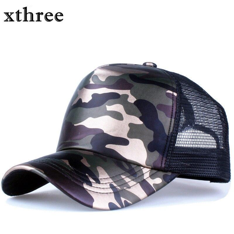 Prix pour Xthree 5 panneaux casquette de baseball d'été faux en cuir Camouflage chapeau snapback hip hop casquette os hommes chapeaux pour femmes