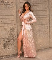 Long Sleeve Dress Fashion Celebrity Night Club Party Sequined V Neck Sexy Women Dresses Winter Autumn Big Size