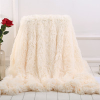 2019 New Arrival Elegant Throw Blanket For Bed Sofa Large Size 160*200cm Long Shaggy Soft Warm Bedding Sheet Christmas Gift