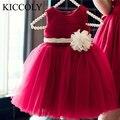 Año nuevo muchachas de flor de la manera party princess dress niños de los niños tutú de la gasa roja vestidos de cumpleaños baby girl dress