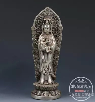 Antique brass, silver plated delivery, Guanyin handicraft
