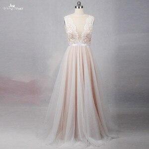 Image 1 - RSW1257 الوهم عودة العنق رخيصة بسيط فستان زفاف بيتش