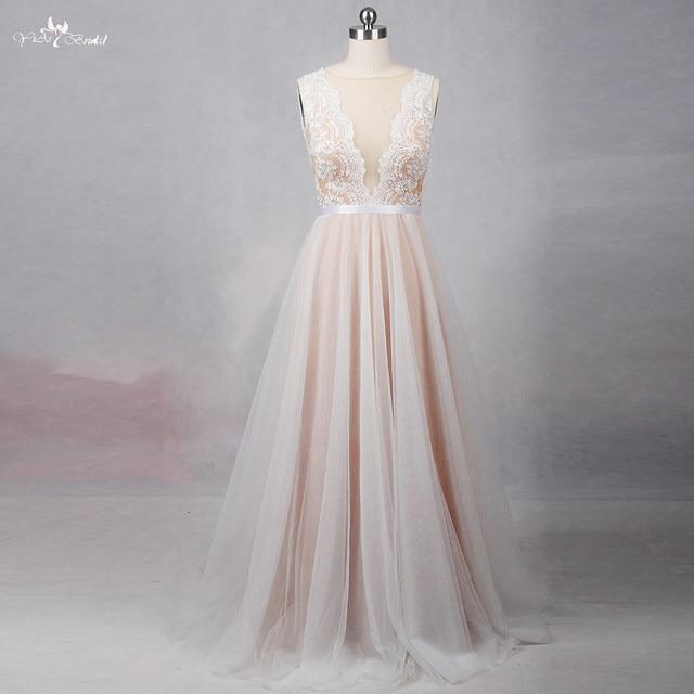 RSW1257 الوهم عودة العنق رخيصة بسيط فستان زفاف بيتش
