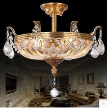 LED 21W- 30W European-style Atmosphere Round Crystal lLamp Luxury Copper Droplight Sitting Room Dining-roo 110-240V led 20w north european contracted creative dandelion k9 crystal stair american restaurant droplight sitting room110 240v 9