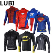 Superman Captain America Iron Spider Man Winter Thermal Fleece Cycling  Jersey Long Sleeve MTB Bicycle Bike 02ac0b236